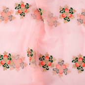 Pink Organza Fabric With Golden and Green Floral Embroidery-51106