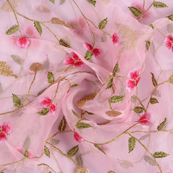 Pink Organza Fabric With Green and Golden Floral Embroidery-50073