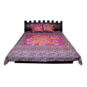 Pink Paisley  Print Cotton Double Bed Sheet -0S2