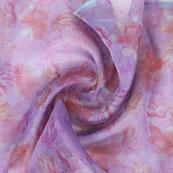 Pink Peach Digital Organza Silk Fabric-51534