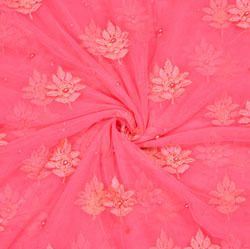 Pink Pink Flower Organza Embroidery Fabric-22188