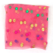 Pink Golden and Green Polka Net Fabric-60970
