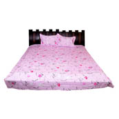 Pink  Print Cotton Double Bed Sheet -0KG4