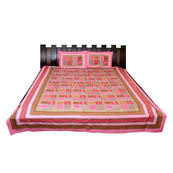 Pink  Print Cotton Double Bed Sheet -0T8