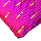 Pink-Purple and Golden Paisley Design Brocade Silk Fabric-8184