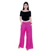 Pink Rayon Free Size Solid Palazzo-3063