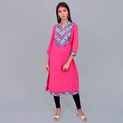 Pink Rayon Kurti-22020