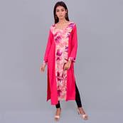 Pink Rayon Kurti With Flower Print-22008