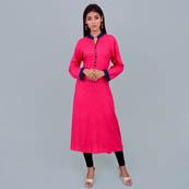 Pink Rayon Kurti With Pokcet Style-22006