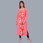 Pink Red And White Rayon Kurti With Flower Print-22009