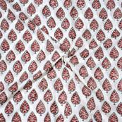Pink Red Block Print Cotton Fabric-14728