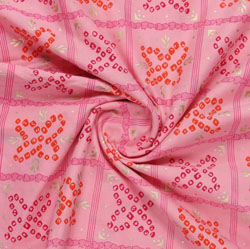 Pink Red Block Print Cotton Fabric-16127