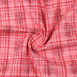 Pink Red Block Print Cotton Fabric-16204