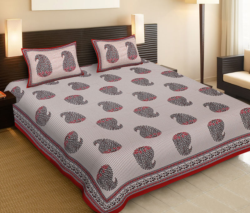Pink Red Cotton Jaipuri Bedsheet-513