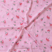 Pink Red Flower Crepe Silk Fabric-18237