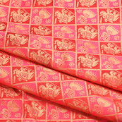 Pink-Red and Golden Elephant Silk Brocade Fabric-8623
