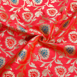 Pink Red and Golden Floral Brocade Silk Fabric-12205