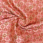 Pink Red and Green Floral Banarasi Silk Fabric-9326