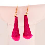 Pink Silk Handcrafted with Pink Tassel Drop Earring for Women
