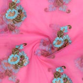 Pink Sky Blue Flower Embroidery Net Fabric-60995