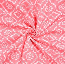 Pink White Bandhej Block Print Cotton Fabric-28548