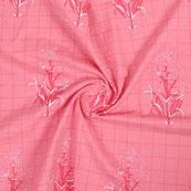 Pink White Block Print Cotton Fabric-14858