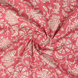 Pink White Block Print Cotton Fabric-16003
