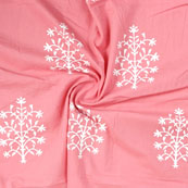 Pink White Block Print Rayon Fabric-14830