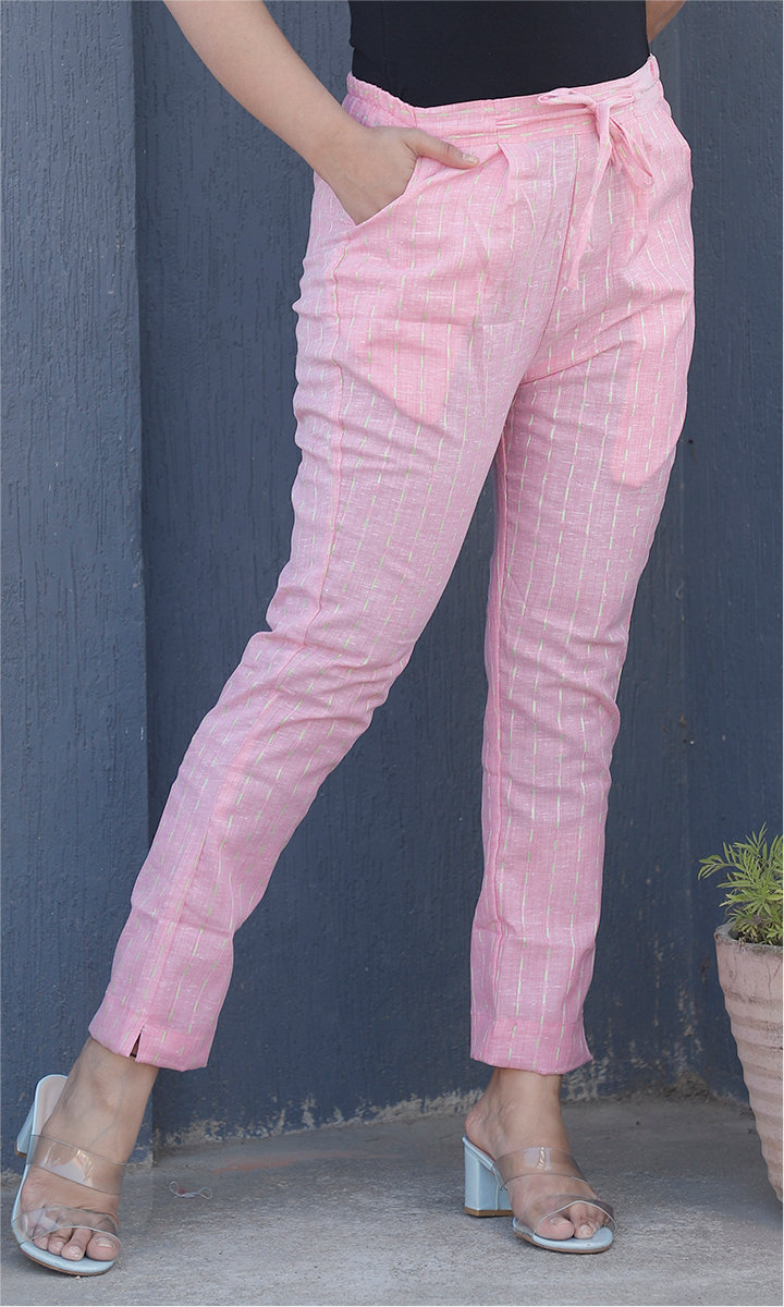 Pink White Cotton Stripe Ankle Women Pant-34465