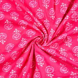 Pink White Floral Block Print Cotton Fabric-28487