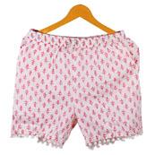 Pink White Flower Cotton Block Print Short-14661