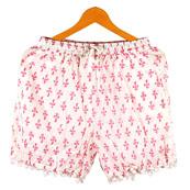 Pink White Flower Cotton Block Print Short-14673