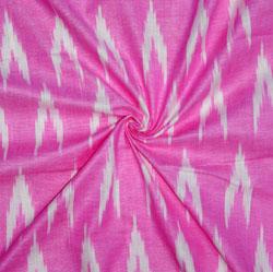 Pink White Ikat Cotton Fabric-11124