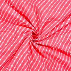 Pink White Leheria Block Print Cotton Fabric-28551