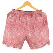 Pink White Paisley Cotton Block Print Short-14665