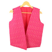 Pink White Sleeveless Ikat Cotton koti jacket-12303
