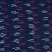 Pink-White and Blue Iconic Pattern Ikat Fabric-4240