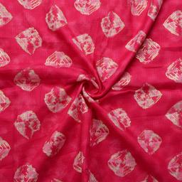 Pink-White and Golden Square Design Kota Doria Fabric-25056