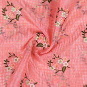 Pink White and Green Floral Embroidery Organza Silk Fabric-51696