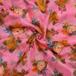 Pink White and Orange Floral Organza Silk Fabric-22335