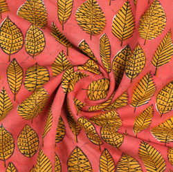 Pink Yellow Block Print Cotton Fabric-16074