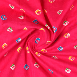 Pink Yellow Block Print Cotton Fabric-16078