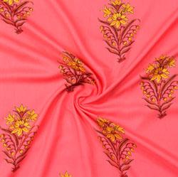 Pink Yellow Block Print Cotton Fabric-16079
