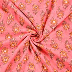 Pink Yellow Floral Block Print Cotton Fabric-28538