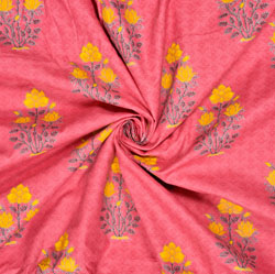 Pink Yellow Floral Cotton Fabric-28592