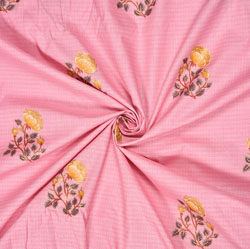 Pink Yellow Floral Cotton Fabric-28599