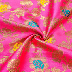 Pink Yellow and Golden Floral Brocade Silk Fabric-12456
