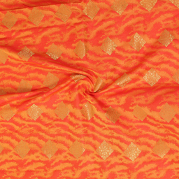 Pink-Yellow and Golden Square Design Brocade Silk Fabric-8333