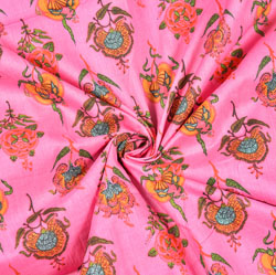 Pink Yellow and Green Floral Block Print Cotton Fabric-28450