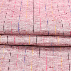 Pink Yellow and Pink Stripe Cotton Fabric-42403